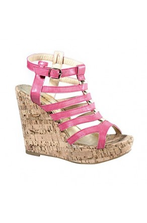 Women's Fuchsia Auden Platform Wedge with Gladiator Inspired Caged Vamp
