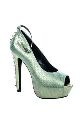 Women's Turquoise Gold Tullisa Manmade 6-inch Stiletto Peep Toe Metallic Print Pumps