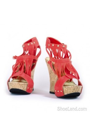 Women's Coral Meekaa Fringed Manmade 5-inch Wedge Sandal with Studded Straps