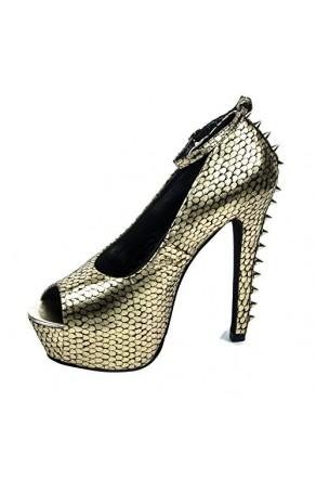 Women's Black Gold Tullisa Manmade 6-inch Stiletto Peep Toe Metallic Print Pumps