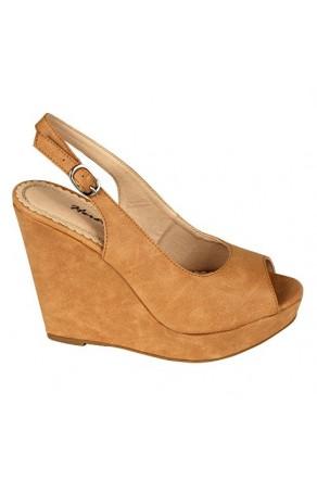 Women's Camel Dalma 5-inch Wedge Peep-Toe Sandal