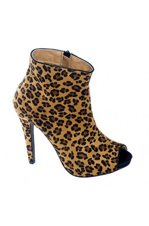 Women's Leopard Marcoo Manmade Zip-up Stiletto Bootie