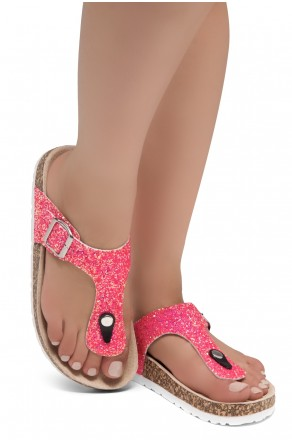 HerStyle SOFTEY-Open Toe Buckled Cork Slide Sandal(1896 PinkGlitter)