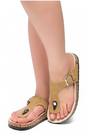 HerStyle Abella-Stud and Buckle Accent Flip Flops (Mustard)