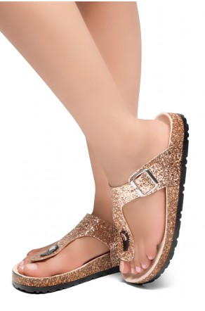 HerStyle Abella-Stud and Buckle Accent Flip Flops (RoseGold Glitter)