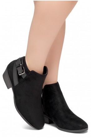Shoe Land Adrerinia- Low Stacked Heel Almond Toe Booties (Black/Black)