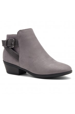 Shoe Land Adrerinia- Low Stacked Heel Almond Toe Booties (Grey/Grey)