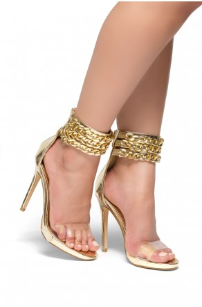HerStyle Adrrianna  Gold chain Perspex strap stiletto Heels (ClearGold)