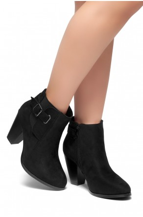 HerStyle ALENEMA -Almont toe, stacked heel Booties(Black)