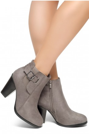 HerStyle ALENEMA -Almont toe, stacked heel Booties(Grey)