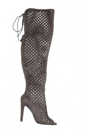 Women's Grey Alerine Faux Suede Cut Out Thigh High Gladiator