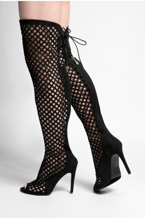 Women's Black Alerine Faux Suede Cut Out Thigh High Gladiator