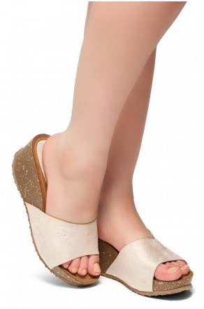 HerStyle Alessia -Open Toe Slide Wedge Sandals (Nude)