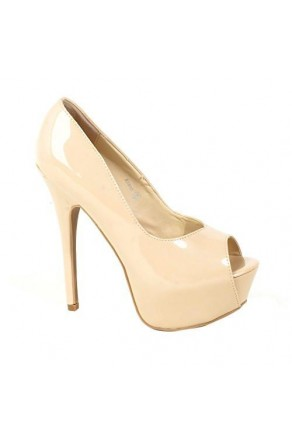 Women's Blush Manmade Aliane 6-inch Platform Pump with Daring Peep-Toe - Blush