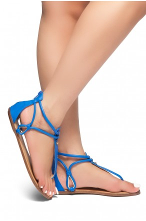 HerStyle Alta – Open Toe T-Strap Thong Sandals with Simple Metallic Stud, Back Closure (RoyalBlue)