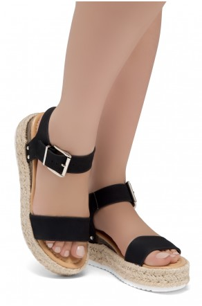 ShoeLand Alysa Womens Open Toe Ankle Strap Platform Wedge Sandals(Black)