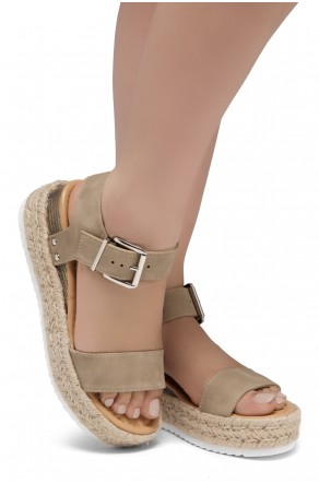 ShoeLand Alysa Womens Open Toe Ankle Strap Platform Wedge Sandals(Natural)