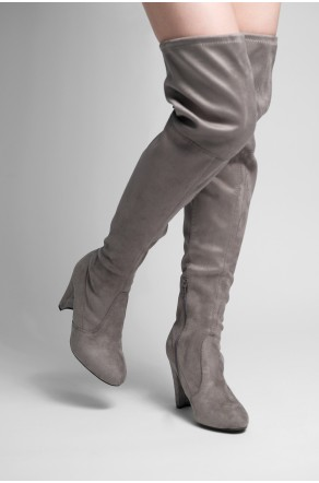 HerStyle Women Amaya-01 Faux Suede Chunky Heel Thigh High Boots (Grey)