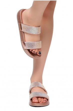 HerStyle Anabell Open Toe Jewelled Embellishment Slide Sandal (RoseGold)