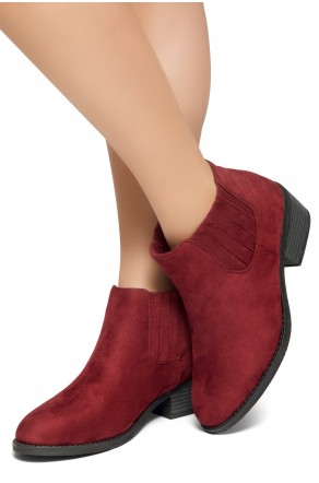 HerStyle Arlo- Low Stacked Heel Almond Toe Casual Ankle Booties (Burgundy)