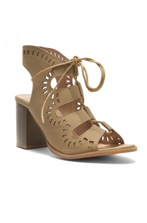 HerStyle Arrinn Geometric cutouts lace-up sandal (Camel)