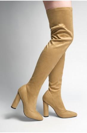Women's Khaki Asasadda Pointy Toe Over- The -knee Thigh-hi Boots