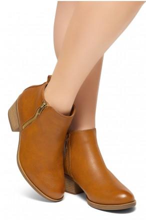 HerStyle Ashlyn Women's Western Ankle Bootie Closed Toe Casual Low Stacked Heel Boots (Tan)