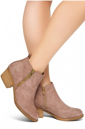 HerStyle Ashlyn Women's Western Ankle Bootie Closed Toe Casual Low Stacked Heel Boots (Taupe)