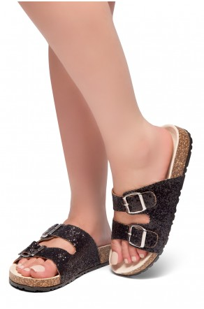 HerStyle AVALON- Double Buckled Cork Foot bed Sandal with Encrusted Iridescent Glitter details (Black)