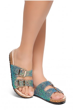 HerStyle AVALON- Double Buckled Cork Foot bed Sandal with Encrusted Iridescent Glitter details (GreenGoldGlitter)
