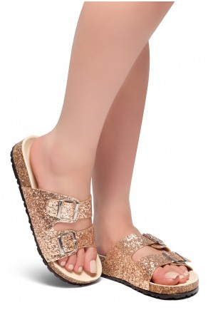 HerStyle AVALON- Double Buckled Cork Foot bed Sandal with Encrusted Iridescent Glitter details (RoseGold Glitter)
