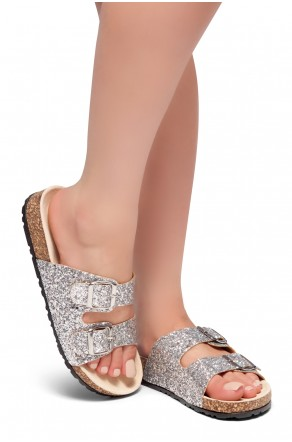 HerStyle AVALON- Double Buckled Cork Foot bed Sandal with Encrusted Iridescent Glitter details (Silver Glitter)