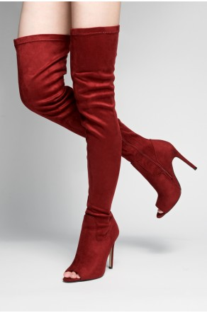 HerStyle Avery peep toe, thigh high, stiletto heel - burgundy