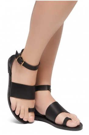 Shoe Land Bandi-Wide Vamp with Toe Ring Ankle Straps Sandals (Black)