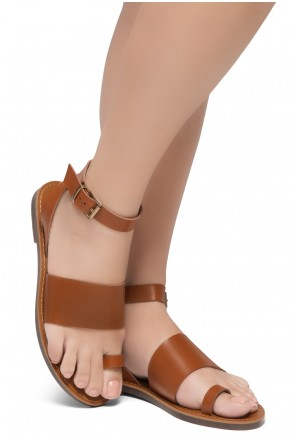 Shoe Land Bandi-Wide Vamp with Toe Ring Ankle Straps Sandals (Cognac)