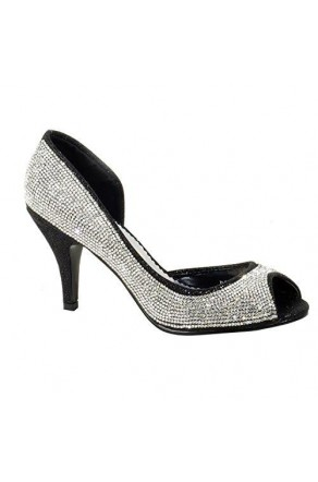 Women's Black Manmade Beaddia 3.5-inch Pump Heel with Shimmering Sides