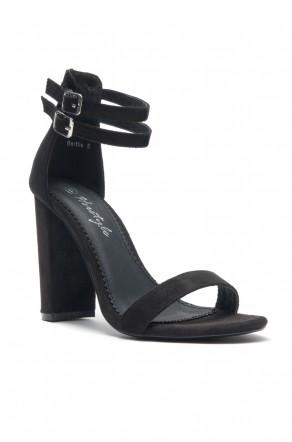 HerStyle Berttie Open Toe, Ankle Strap, Chunky Heel (Black)