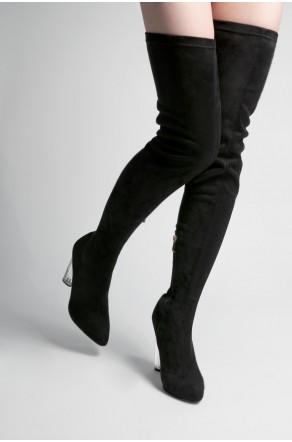 women's Black Biellaa Pointy Toe Over-The-Knee Thigh-Hi Boots, Perspex heel