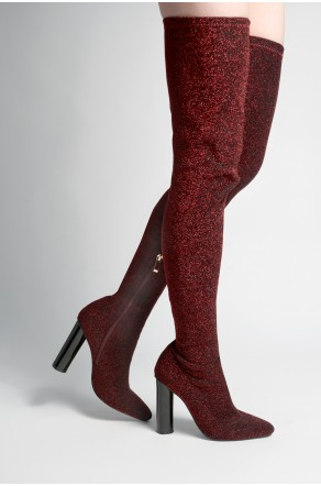 Women's Red Braylie Pointy Toe Over-The-Knee Shimmer Thigh-hi Boots