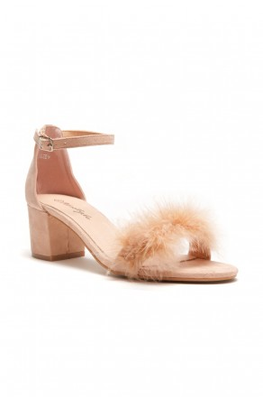HerStyle Women's Manmade Brenleey Suede Faux Feather Accent Ankle Strap Low Chunky Heel Sandal -Mauve