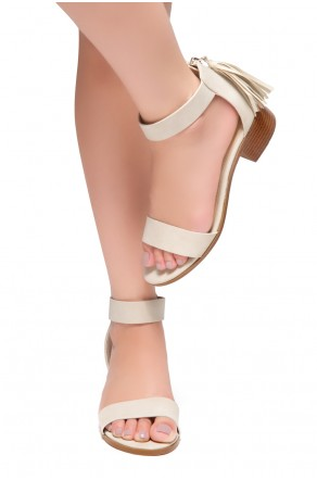 HerStyle Bruefly- Low Block Heel Back Zipper with Tassels Sandal (Khaki)
