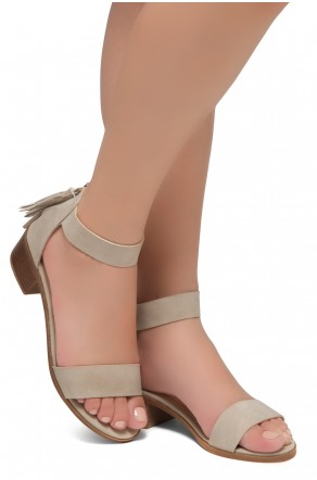 HerStyle Bruefly- Low Block Heel Back Zipper with Tassels Sandal (Khaki)