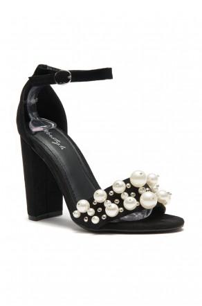 HerStyle Women's Manmade Caachee faux pearl embellishments, Open Toe Ankle Strap Chunky Heel -Black