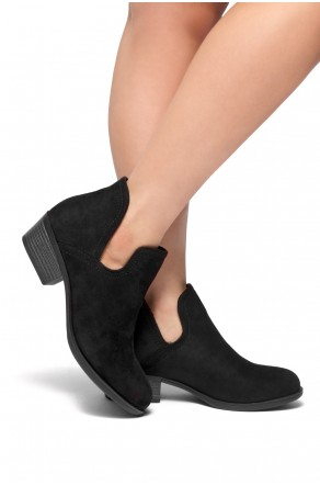 HerStyle Cabbe-Almond toe, stacked heel (Black)
