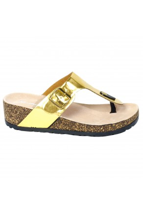 Women's Gold Manmade Caiman Low Wedge Thong with Buckled Metallic Strap