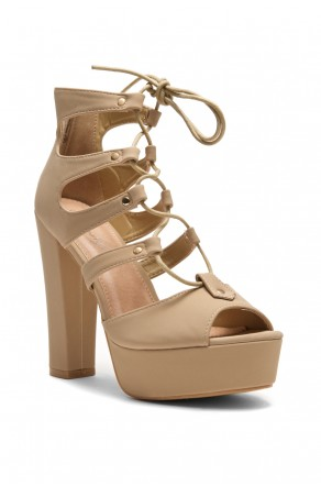 HerStyle Calliiee Lace up Platform Chunky Heel (Beige)