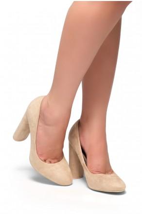 HerStyle Camylla-Curve heel Suedette pumps (Beige)