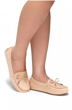 Women's  Canal Manmade Moccasin Flat with Metallic Tipped Bow (Blush)