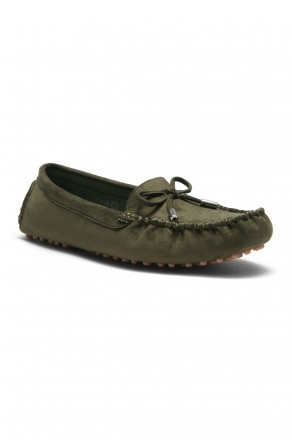 Women's Canal Manmade Moccasin Flat with Metallic Tipped Bow (Olive)