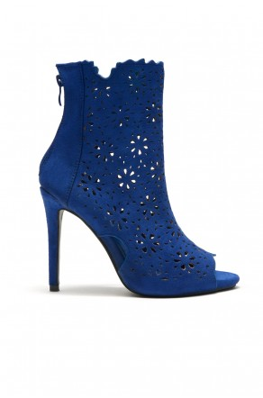Women's RoyalBlue Cardross peep Toe, Zipper, Stiletto, Lacer cutout design, high heel sexy Booties